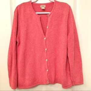 L.L bean pink button up knitted cardigan size XL